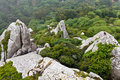 Rocks in Moorish Castle near Lisbon Royalty Free Stock Photography