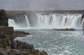 Rocks and Mountain Landscape. Godafoss Waterfall in Iceland. Royalty Free Stock Photo