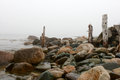 Rocks and old wooden posts at the bay wet of atlantic ocean Royalty Free Stock Photo