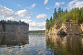 Rocks on the river schugor in the komi republic national park yugid va northern urals Stock Photo
