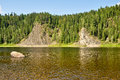 Rocks on the river schugor in the komi republic national park yugid va northern urals Royalty Free Stock Photo
