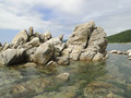 Rocks in the sea off coast of japan primorye russia Royalty Free Stock Image