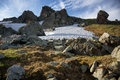 Rocks and snowfields Royalty Free Stock Photo