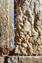 Rocks of the wailing wall close up in jerusalem israel Stock Photos