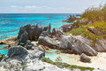 Rocky bay with blue water Royalty Free Stock Photo
