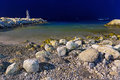 Rocky beach aegean sea night Stock Photo