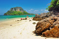 Rocky beach andaman sea province krabi thailand Royalty Free Stock Photo