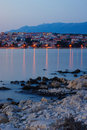 Rocky Beach and City of Novalja on Pag Island Stock Image
