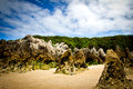 Rocky beach landscape in llanes asturias Stock Images