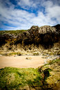 Rocky beach landscape in llanes asturias Royalty Free Stock Images