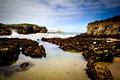 Rocky beach landscape in llanes asturias Stock Photo