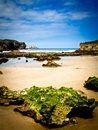 Rocky beach landscape in llanes asturias Royalty Free Stock Photos