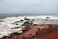 Rocky beach lonely clean and at anjuna goa india a popular tourist destination and a beautiful popular among tourists Royalty Free Stock Photo