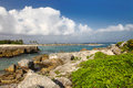 Rocky beach in riviera maya Royalty Free Stock Photo