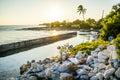 Rocky Beach Sunset Bahia Honda Train Station Ruins Royalty Free Stock Photo