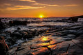 Rocky beach sunset Royalty Free Stock Photo