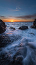 A rocky beach sunset on in iceland Royalty Free Stock Images
