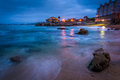 Rocky beach at twilight in monterey california Royalty Free Stock Photography