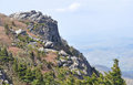 Rocky cliff and alpine landscape at grandfather mountain Royalty Free Stock Photography
