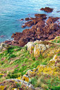 Rocky Cliff and Moorland in Brittany France Stock Photo