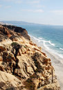 Rocky cliff torrey pines beach along san diego ca Royalty Free Stock Image