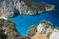 Rocky cliffed coast beautiful bay surrounded by zakynthos Stock Photography