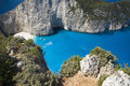 Rocky cliffed coast beautiful bay surrounded by zakynthos Stock Image