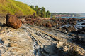 Rocky coast of Arabian sea in Goa Royalty Free Stock Photo