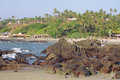 Rocky coast of Arabian sea in Goa Stock Photo