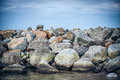 Rocky coast backgroud in sea Royalty Free Stock Photos