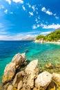 Rocky coast and beach at the Adriatic Sea.