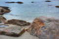 Rocky coast on the beach view of Royalty Free Stock Photos