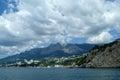Rocky coast of black sea ukraine crimea mountains and landscape Stock Images