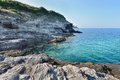 Rocky coast of corsica turquoise blue sea on the cap corse Royalty Free Stock Photography