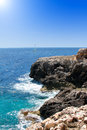 Rocky coast in mallorca balearic island turquoise Royalty Free Stock Photo