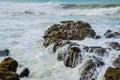 Rocky coast ocean surf waves Fotografie Stock Libere da Diritti