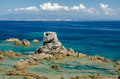 Rocky coast santa theresa sardinia long exposure picture of coastline near city in Royalty Free Stock Image