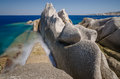 Rocky coast testa cape sardinia long exposure picture of at Stock Photo