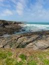 Rocky coastal scene Newtrain Bay North Cornwall near Padstow and Newquay Royalty Free Stock Photo