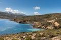Rocky coastline and coastal track at Revellata in Corsica Royalty Free Stock Photo