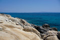 Rocky coastline deserted and in sithonia chalkidiki greece Royalty Free Stock Photography