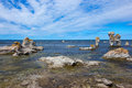 Rocky coastline in gotland sweden fårö island these cliffs are locally known as raukar Stock Photos