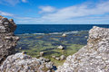 Rocky coastline of gotland sweden fårö island view over the baltic sea Royalty Free Stock Photography