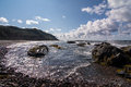 Rocky coastline in gros morne national park in newfoundland and a rugged labrador canada Stock Photography