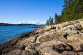 Rocky coastline on maine the rugged of from a low perspective at the rocks Stock Photo
