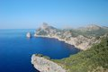 Rocky coastline of majorca scenic view with calm blue sea in background balearics spain Royalty Free Stock Photos
