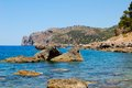 Rocky coastline of majorca scenic view with calm blue sea in background balearics spain Stock Photography