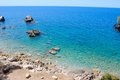 Rocky coastline of majorca scenic view with calm blue sea in background balearics spain Royalty Free Stock Photography