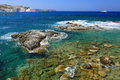 Rocky coastline of milos island scenic view greece Royalty Free Stock Photos
