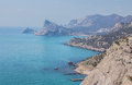 Rocky coastline of novyi svet recreation area crimea ukraine Stock Image